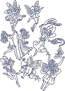 Elves and Fairies Redwork Set