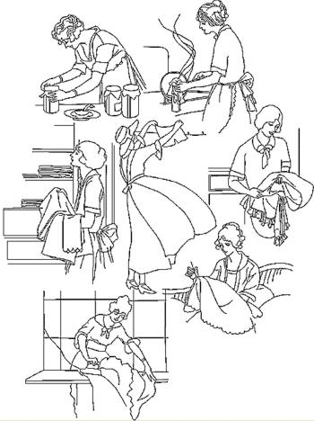 coloring pages kids chores by age | Advanced Embroidery Designs - Housework Redwork Set