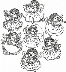 Musical Angel Redwork Set