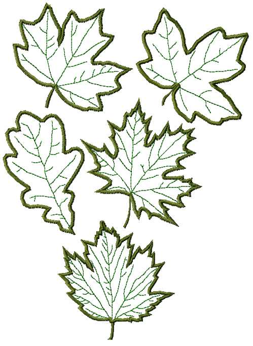 Advanced embroidery designs leaves applique set