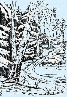 Late Winter Landscape, design for machine embroidery.