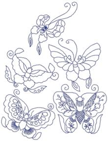 Butterfly Redwork Set
