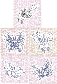 Butterfly Redwork Quilt Block Set