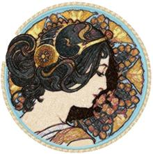 The Cowslip by Alphonse Mucha Machine Embroidery Design