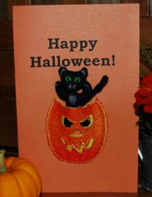 Cat in Jack-O-Lantern In-the-Hoop Set (ITH)