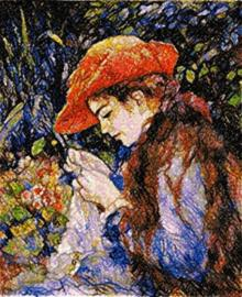 Sewing in the Garden by Renoir