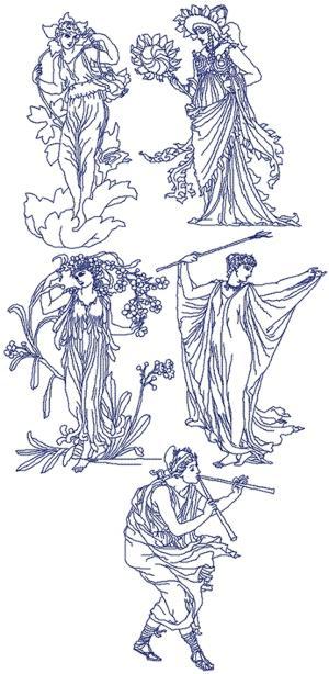 Advanced Embroidery Designs Flower Fairy Redwork Set Iii