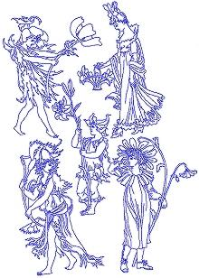 Flower Fairy Redwork Set IV