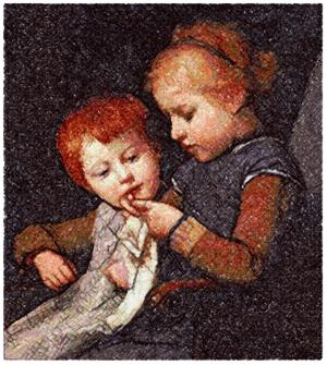 The Little Knitters by Albert Anker