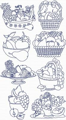 Redwork Fruit Basket Set