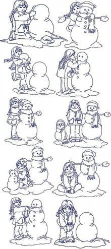 Making a Snowman Redwork Set