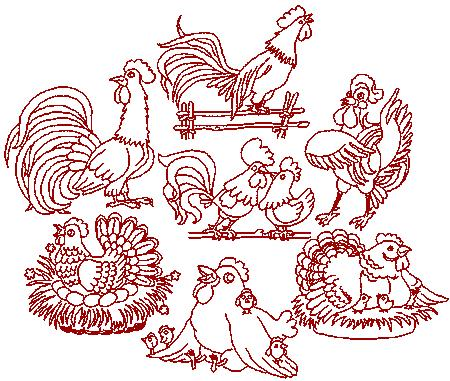 Country Chicken Embroidery Designs