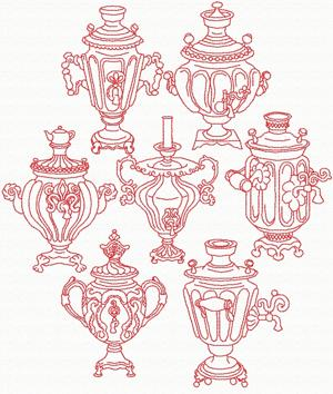 Redwork Samovar Set