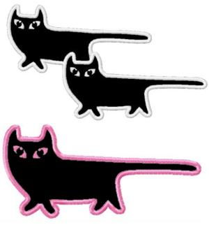 Walking Cat Applique Set