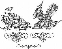 Calligraphy Birds Redwork Set