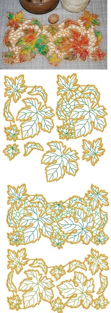 Autumn Leaves Applique and Cutwork Set