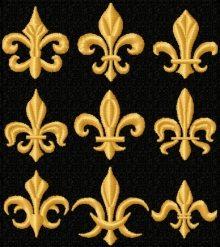 Fleur-de-lis set, designs for machine embroidery