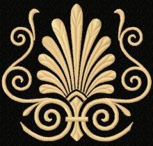 Decorative fern motif, design for machine embroidery
