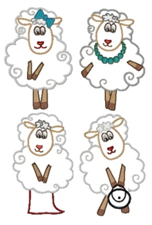 Funny Sheep Applique Set