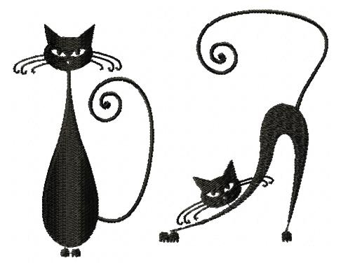 Advanced Embroidery Designs Whimsical Cat Silhouette Set Iii