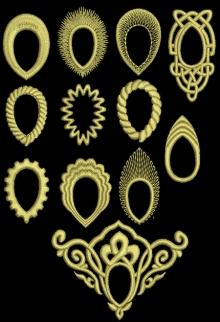 Embroidered Frames for Sew On Teardrop Crystals or Rhinestones