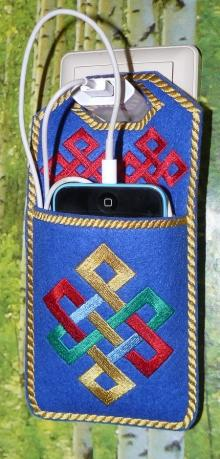 Smartphone charger case with celtic embroidery