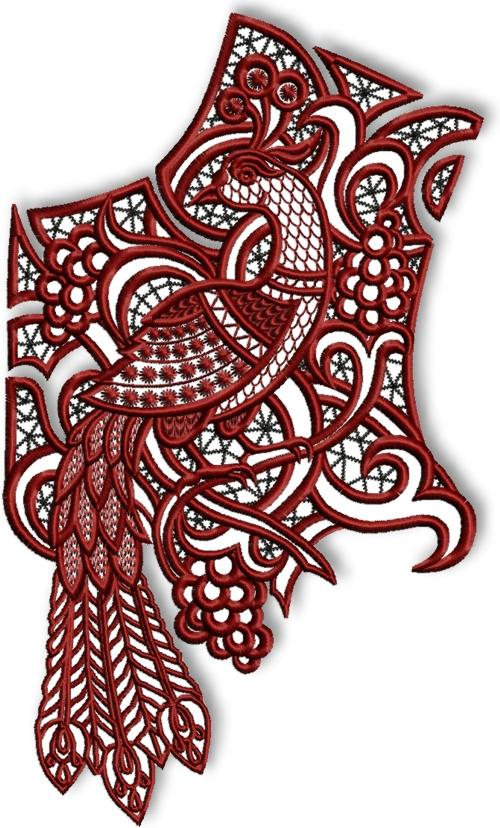 Advanced Embroidery Designs Cutwork Lace Peacock Yoke For