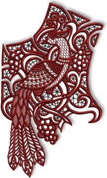Cutwork Lace Peacock Yoke for Industrial Machines