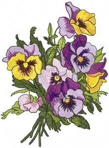 Pansies - machine embroidery design.