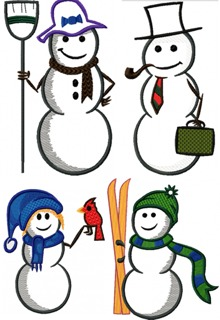 Snowman Family Applique Set