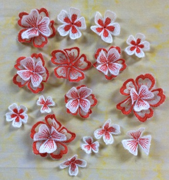 3D Freestanding Organza Flower Set