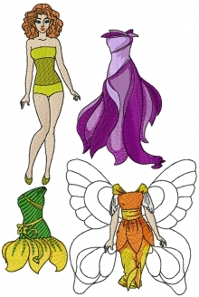Fashion Paper Doll with Fairy Dresses