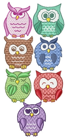 Cartoon owls, designs of machine embroidery