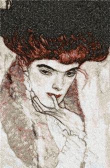 Klimt. Woman in Black Feather Hat. Machine embroidery design in the photo-stitch technique.