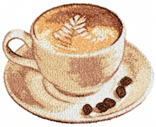 Cup of Coffee Machine Embroidery Design in Photo Stitch Technique