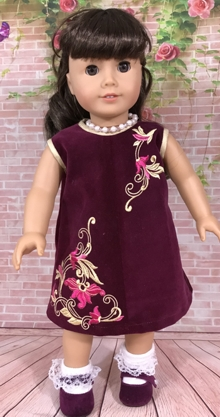 Embroidered Dress for an 18-inch Doll Set of 4 Machine Embroidery Designs