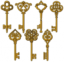 Antique Key Set of 7 Machine Embroidery Designs