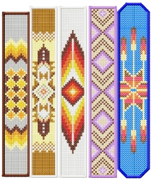 Cross Stitch Bracelet/Bookmark Set of 5 Machine Embroidery Designs