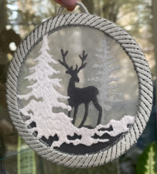 Winter Landscape Silhouette Ornament Set of 3 Machine Embroidery Design