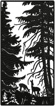Forest landscape with deer