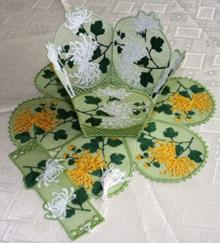 Chrysanthemum Bowl and Doily Set