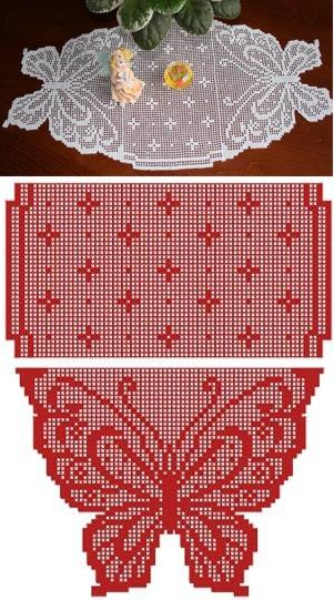 Butterfly Set set Runner Embroidery Table Advanced  table runner  Crochet Designs