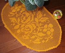 Oval Flower Crochet Doily