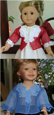 Forget-Me-Not FSL Crochet Cardigan for 18-in. Doll