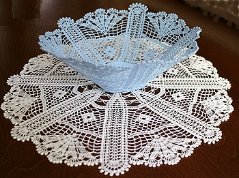 Antique FSL Crochet Bowl and Doily Set
