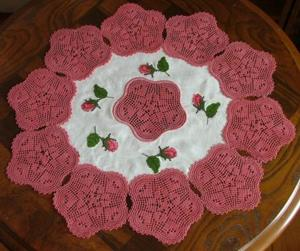 FSL Crochet Rose Doily Set