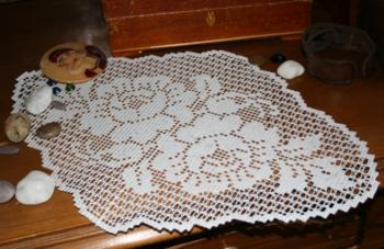 Rose Diamond FSL Crochet Doily