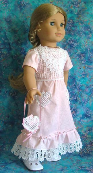 Sunday Dress and Vest for 18 inch Dolls with Battenberg Lace