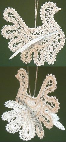3D FSL Battenberg Dove Lace Ornament