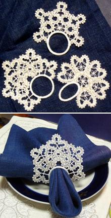 FSL Battenberg Snowflake Napkin Ring Lace Set
